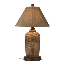 "PLC - South Pacific 33"" Outdoor Table Lamp with Sesame Sunbrella Shade - Add casual elegant styling to your outdoor living area.  Features all resin construction with a heavy weighted natural woven bamboo style base. Completely weatherproof with a sesame Sunbrella shade cover, two level dimming switch and a 16 ft. cord.  Unbreakable poly-carbonate waterproof light bulb enclosure allows the use of a standard 100 watt light bulb.  Dimensions: 20"" L X 20"" W X 33"" H."