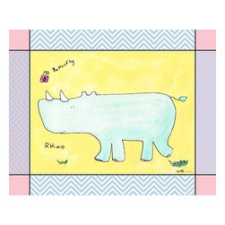 Oh How Cute Kids by Serena Bowman - Chevron Blue - Rhino, Ready To Hang Canvas Kid's Wall Decor, 16 X 20 - Every kid is unique and special in their own way so why shouldn't their wall decor be so as well! With our extensive selection of canvas wall art for kids, from princesses to spaceships and cowboys to travel girls, we'll help you find that perfect piece for your special one.  Or fill the entire room with our imaginative art, every canvas is part of a coordinating series, an easy way to provide a complete and unified look for any room.