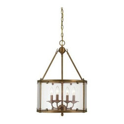 Savoy House - Cage Pendants - Foxcroft will add an elegant touch to your home décor with clean lines and a lustrous Aged Brass finish. Designed by Brian Thomas, these stunning fixtures mix classic design with contemporary flair.