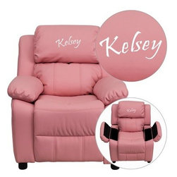 Flash Furniture Personalized Vinyl Kids Recliner with Storage Arms - Pink - About Flash FurnitureFlash Furniture prides itself on fine furniture delivered fast. The company offers a wide variety of office furniture, whether for home or commercial use. Leather reception seating, executive desks, ergonomic chairs, and conference room furniture are all available to ship within twenty-four hours. High quality at high speeds!