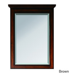 None - Avanity Tropica 24-inch Mirror in Antique Brown Finish - The Tropica poplar framed mirror features either an antique brown or antique white finish with a warm traditional design. It matches the Tropica vanity collection for a coordinated look and includes mounting hardware that makes leveling easy.