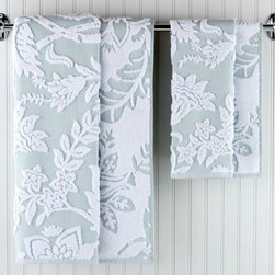 Tamara Sculpted Bath Collection, Surf - Don't forget to shower your guests with flowers by offering these pretty sculpted floral towels. And the best part is they're reversible!
