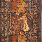 """ALRUG - Handmade Navy Blue Oriental Tribal Pictorial Rug 6' 4"""" x 9' 3"""" (ft) - This Afghan Pictorial design rug is hand-knotted with Wool on Wool."""