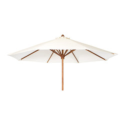 All Things Cedar - Teak Market Table Umbrella - White Canopy - Our Market Umbrella is made from premium solid Teak. The additional crown of fabric at the top is called a wind vent. This unique design allows for wind gusts to escape through the vent, thus making it a very stable umbrella. Comes in 3 colors. Item is made to order.