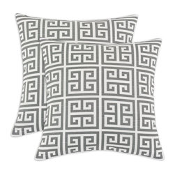 Chooty & Co. - Chooty and Co. Towers Ash Slub 17 x 17 in. Decorative Throw Pillow - Set of 2 . - Shop for Pillows from Hayneedle.com! The Chooty and Co. Towers Ash Slub 17 x 17 in. Decorative Throw Pillow - Set of 2 is graced with a spectacular Greek key design in muted grey and white. While both square accent pillows are spot-clean only each features a convenient zipper closure so you can remove the machine-washable polyester insert.About Chooty & Co.A lifelong dream of running a textile manufacturing business came to life in 2009 for Connie Garrett of Chooty & Co. This achievement was kicked off in September of '09 with the purchase of Blanket Barons well known for their imported soft as mink baby blankets and equally alluring adult coverlets. Chooty's busy manufacturing facility located in Council Bluffs Iowa utilizes a talented team to offer the blankets in many new fashion-forward patterns and solids. They've also added hundreds of Made in the USA textile products including accent pillows table linens shower curtains duvet sets window curtains and pet beds. Chooty & Co. operates on one simple principle: What is best for our customer is also best for our company.