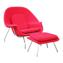 EERO SAARINEN STYLE WOMB CHAIR AND OTTOMAN SET LEATHER - http://www.exclusivemod.com/