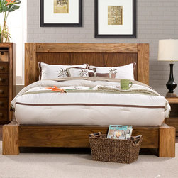 "Origins by Alpine - Jimbaran Bay Platform Bed - Features: -Jimbaran Bay collection. -Finish: Tobacco. -Material: Mindi solids and veneer wood. -No box spring required. -Handmade carving. -6 Month warranty. Dimensions: -Queen: 47"" H x 75"" W x 91"" D, 253 lbs. -King: 47"" H x 91"" W x 91"" D, 281 lbs. -California King: 47"" H x 87"" W x 95"" D, 277 lbs."