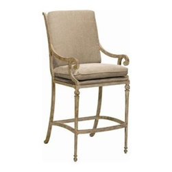 Landgrave - Landgrave Contempo Cast Aluminum Arm Counter Stool - Woodard-Landgrave offers traditional and classical styles in lighter weight durable cast aluminum. Using the highest grade ingots Woodard-Landgrave cast aluminum patio furniture possesses an excellent balance of Resilience and design.  Landgrave's patio furniture collections are generally evocative of classic European designs. With collections inspired by the grandeur of the French Greek and Roman empires Landgrave furniture adds a level of sophistication to your patio.