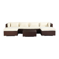 "Kardiel - Modify-It Modern Outdoor Furniture Sofa Patio Napali 7-pc Set Espresso, Ivory - Gather around the Napali 7-piece set for all in one entertaining. Imagine a modern outdoor sectional sofa large enough to host all of your guests in a lineal single piece setting. This extended length sofa features 2 chaise pieces one on each end. The tempered glass top coffee table fits closely enough to accommodate beverages. The flexible nature of Modify-It modular allows for customized reconfiguring of the layout at will. The design origins are Clean European. The elements of comfort are inspired by the relaxed style of the Hawaiian Islands. The Aloha series comes in many configurations, but all feature a minimalist frame and thick, ample modern cube cushions. The back cushions are consistent in shape, not tapered in to create the lean back angle. Rather the frame itself is specifically ""lean tapered"" allowing for a full cushion, thus a more comfortable lounging experience. The cushion stitch style utilizes smooth and clean hand tailoring, without extruding edge piping. The generously proportioned frame is hand-woven of colorfast, PE Resin wicker. The fabric is Season-Smart 100% Outdoor Polyester and resists mildew, fading and staining. The ability to modify configurations may tempt you to move the pieces around... a lot. No worries, Modify-It is manufactured with a strong but lightweight, rust proof Aluminum frame for easy handling."