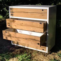 blankblank: Peghole Dresser by Rob Zinn - Pegholes in reclaimed barn wood provide natual drawer pulls. Various size, material, configuration, leg and finish options available.
