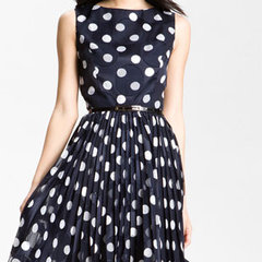 Adrianna Papell Pleated Burn Out Dot Fit & Flare Dress | Nordstrom