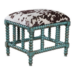Uttermost - Chahna Small Bench - Aqua blue finish on solid, plantation grown mango wood with cushioned seat in plush, dark chocolate and milky white velvet.