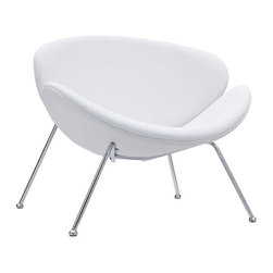 """Modway - Nutshell Lounge Chair in White - Sprawling horizons roll gently outward from this deep-seated Nutshell Lounge Chair. Unwrap the graceful duet of soft-cushioned molded """"shells"""" positioned artistically on tube chrome legs. Achieve surprising results as you make your escape from traditional seating toward radical positioning."""