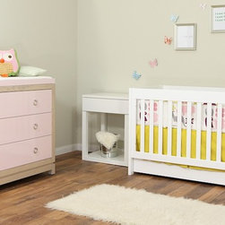 Willow Glen - cambas design & co. willow glen changing table in White Ash finish + High Gloss Pink Lace.