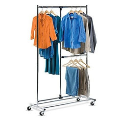 Honey-Can-Do International - Dual-Bar Expandable Garment Rack, Chrome - Our 80in Dual-Bar Expandable Garment Rack, Chrome is a great full-featured garment rack, this unit provides extra hanging space by offering space for both shorter and longer hanging items like coats and dresses. The brilliant chrome finish adds class to the durable, rust-resistant steel frame. Set on smooth rolling casters, this garment rack easily moves from room to room.