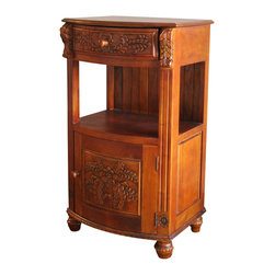 International Caravan - International Caravan Windsor One Drawer Telephone Table in Dual Walnut Stain - International caravan - Accent Tables - 3873 - This telephone stand comes with 1 door and one drawer for added space. The hand carved accents on the front of the door and drawer will create elegance for any room. It has a convenient shelf for adding books or other items.