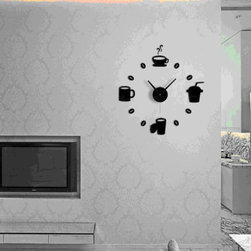 ColorfulHall Art style 3D Clock Wall Decals With Four Different Style Cups to Re - You will find hundreds of affordable peel - and - stick wall decal designs, suitable for all kinds of tastes and every room in your house, including a children's movie theme, characters, sports, romantic, and home decor designs from country to urban chic. Different from traditional decals, vinyl wall decals is with low adhesive that allows you to reposition as often as you like without damaging the paint. Application is easy: peel offer the pre-cut elements on the design with a transfer film, and then apply it to your wall. Brighten your walls and add flair to your room is just as easy.