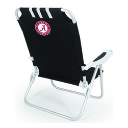 "Picnic Time - University of Alabama Monaco Beach Chair Black - The Monaco Beach Chair is the lightweight, portable chair that provides comfortable seating on the go. It features a 34"" reclining seat back with a 19.5"" seat, and sits 11"" off the ground. Made of durable polyester on an aluminum frame, the Monaco Beach Chair features six chair back positions and an integrated cup holder in the armrest. Convenient backpack straps free your hands so you can carry other items to your destination. Rest and relaxation come easy in the Monaco Beach Chair!; College Name: University of Alabama; Mascot: CrimsonTide; Decoration: Digital Print"