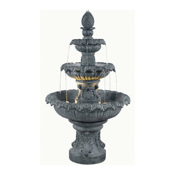 Kenroy - Kenroy 53200ZC Costa Brava Outdoor Fountain - In Costa Brava you'll experience Barcelona's stunning fountain attractions.  In your backyard you can enjoy the sight and sounds inspired by such water features day or night with this lighted 3-tiered Mediterranean classic.  Made for outdoor use only.