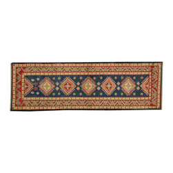 1800-Get-A-Rug - Kazakh Hand Knotted Oriental Rug Geometric Design 100% Wool Runner Sh18375 - Our tribal & geometric hand knotted rug collection, consists of classic rugs woven with geometric patterns based on traditional tribal motifs. You will find Kazak rugs and flat-woven Kilims with centuries-old classic Turkish, Persian, Caucasian and Armenian patterns. The collection also includes the antique, finely-woven Serapi Heriz, the Mamluk Afghan, and the traditional village Persian rug.