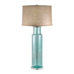 Lamp Works - Lamp Works Recycled Glass Blue Cylinder Table Lamp -