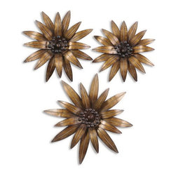 Uttermost - Uttermost 13479  Golden Gazanias Metal Wall Art, Set/3 - This decorative wall art is made of hand forged and hand hammered metal. the heavily antiqued, gold leaf finish is accented by burnished black details. sizes: sm-17x17x3, med-18x18x3, lg-24x24x4