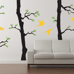 Cherry Walls - Forest Pine Decal, Black/Lime Tree Green/Yellow - Slip away to your quiet retreat. It only takes a few moments to still your mind, and it only takes a few minutes to surround yourself with awe-inspiring pine trees, no matter where you live. With these gorgeous pine tree decals, you can instantly transform any room into a tranquil space perfect for gathering your thoughts and creative ideas.
