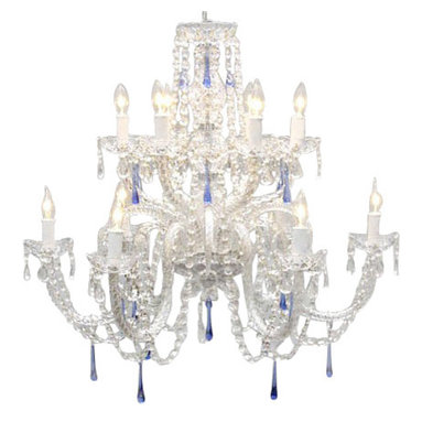 The Gallery - Authentic all Crystal chandelier with Blue Crystals - There's a secret to infusing instant sophistication into your room, a crystal chandelier. This showstopper takes glamour to a new level with stunning blue crystals integrated into an already spectacular design.