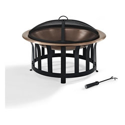 Crosley Furniture - Ridgeway Copper Bowl Firepit in Copper - Oversized Bowl for Longer and Warmer Fires. 360 View of Fire. Sturdy Steel Construction. Sturdy Legs. Includes Poker to Keep Fire Stoked. Durable Copper Bowl. Full Coverage Steel Mesh Lid. Assembly Required. 30 in. L X 30 in. W X 19 in. H (18.25 lbs.)This Firepit will add a touch of class to any outdoor area.  Featuring a copper bowl that contrasts nicely to the black steel frame that supports it.  Relax with family and friends around this stylish Crosley fire pit and enjoy hours of fireside heat.