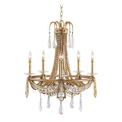 Five-Light Chandelier Candelabra Base - As grand and glorious as the accoutrements that grace the chateaus of Versailles, the Five-Light Chandelier Candelabra gleams with a sparkling traditional beauty. A profusion of round and teardrop crystals reflect the twinkling light from the candelabra; so, too, the Antique Gold Leaf Finish. A most impressive chandelier that presents dramatic radiance in a stately great room, grand hallway, or formal dining room.