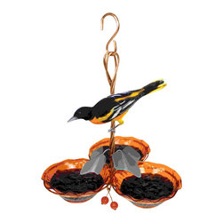 Songbird Essentials - Copper Oriole Jelly Feeder Triple Cup - Copper Oriole Jelly Feeder Triple Cup. Copper clips that hold the jelly bowls securely while making it easy to remove to clean or fill. Beautiful rippled orange jelly bowls that add beauty and add more orange to attract more orioles.