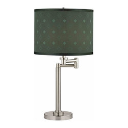 Design Classics Lighting - Swing Arm Table Lamp with Drum Lamp Shade - 1902-09 SH9479 - Contemporary / modern satin nickel 1-light table lamp. Swing arm has a maximum 9-inch extension. Features a sage circle and diamond pattern drum lamp shade. Takes (1) 100-watt incandescent A19 bulb(s). Bulb(s) sold separately. UL listed. Dry location rated.