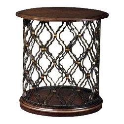 "Marge Carson - Marge Carson Shibori Round End Table - Marge Carson Living Room Shibori Round End Table. Diameter: 30"" Height: 30""   Please allow up to 8 weeks for shipping"