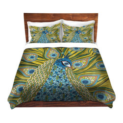 DiaNoche Designs - Duvet Cover Microfiber by Valerie Lorimer - The Peacock - Super lightweight and extremely soft Premium Microfiber Duvet Cover in sizes Twin, Queen, King.  This duvet is designed to wash upon arrival for maximum softness.   Each duvet starts by looming the fabric and cutting to the size ordered.  The Image is printed and your Duvet Cover is meticulously sewn together with ties in each corner and a hidden zip closure.  All in the USA!!  Poly top with a Cotton Poly underside.  Dye Sublimation printing permanently adheres the ink to the material for long life and durability. Printed top, cream colored bottom, Machine Washable, Product may vary slightly from image.