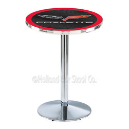 Holland Bar Stool - Holland Bar Stool L214 - Chrome Corvette - C6 Black Pub Table W/ Red Accent - L214 - Chrome Corvette - C6 Black Pub Table W/ Red Accent  belongs to General Motors Collection by Holland Bar Stool Made for the ultimate Corvette - C6 enthusiast, impress your buddies with this knockout from Holland Bar Stool. This L214 Corvette - C6 table with round base provides a commercial quality piece to for your Man Cave. You can't find a higher quality logo table on the market. The plating grade steel used to build the frame ensures it will withstand the abuse of the rowdiest of friends for years to come. The structure is triple chrome plated to ensure a rich, sleek, long lasting finish. If you're finishing your bar or game room, do it right with a table from Holland Bar Stool.  Pub Table (1)