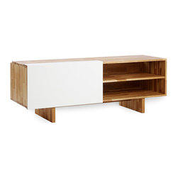 MASH Studios - LAX Entertainment Shelf - MASH Studios - Pristine. A white casing one moment, and your own personal entertainment lounge the next. This reinforced, ventilated shelf supports a plasma and houses your LPs and electronics while conveniently sorting cables via an integrated wire management feature. The entertainment shelf comes with two adjustable interior shelves. There is a small gap at the back of the entertainment shelf for cable management.