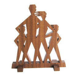"Frederick Arndt Artworks LLC - Midcentury Modern Family Wood Sculpture - This is a wonderful mid-century modern inspired wood sculpture made out of mahogany hardwood. It measures 8"" high x 9"" wide x 3/4"" thick. It has been clear coated to ensure a long lasting quality finish. This piece would make a great addition to any modern home. This item is made-to-order, and as such, it is subject to lead times of 4-7 weeks."