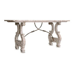 Blythe Dining Table, Weathered Creams with Gray and Gold Leaf - Blythe Dining Table, Weathered Creams with Gray and Gold Leaf