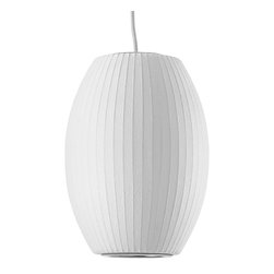 Modernica - Bubble Lamp, Cigar, Small - Taking its cues from midcentury design, this handcrafted ceiling pendant features a white ridged shade, six feet of white cord and a nickel ceiling plate. Flank your bed with two or line three or more over your kitchen island for a little earthy, organic enlightenment.