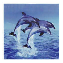 Oriental Furniture - Three Rising Dolphins Canvas Wall Art - Brightly-colored, playful photograph captures three bottle nosed dolphins mid-leap over an endless expanse of blue ocean and sky. Image is printed using the latest ink jet printing technology on high quality canvas to accurately recreate the detail and hues of the original. Hang this perfectly-timed wildlife photograph in an office, school or ocean-themed bathroom.
