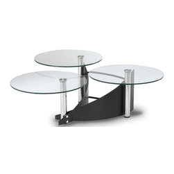 Chintaly - Three-Tier Cocktail Table - Curved panels and slats bring this three-tier cocktail table together. Round glass tops rest on off-center metal columns finished to a satin sheen. It's sculpturally inspiring and as a focal point for entertainment offers space for serving and for displays. Three-tier glass table. Black base. Minimal assembly required. Table Open: 37 in. W x 37 in. L x 17 in. H. Table Closed: 55 in. W x 55 in. L x 17 in. H