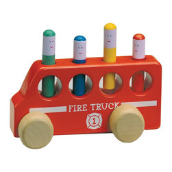 The Original Toy Company - The Original Toy Company Pop-Up Fire Truck - Like the great traditional Pop Up Toy, this Fire Truck now has much greater added value with wheel movement. Traditional wooden toy features 4 figures with spring loaded action is ideal for developing eye/hand coordination and fine motor skills. Weighs approximately 3.00 pounds.