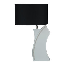 Cortesi Home - Miami Table Lamp - With its art-deco style the Miami lamp brings a touch of glamour to home decor. The curved ceramic base is white and accented with a crystal trim. It is complimented with a contrasting black shade. UL approved. ON/OFF switch on  plug-in cord. 60W Bulb Max (not included)