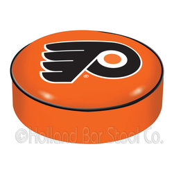 "Holland Bar Stool - Holland Bar Stool BSCPhiFly-O Philadelphia Flyers Seat Cover (Orange) - BSCPhiFly-O Philadelphia Flyers Seat Cover (Orange) belongs to NHL Collection by Holland Bar Stool This Philadelphia Flyers bar stool cushion cover is hand-made in the USA by Covers by HBS; using the finest commercial grade vinyl and utilizing a step-by-step screen print process to give you the most detailed logo possible. This cover slips over your existing cushion, held in place by an elastic band. The vinyl cover will fit 14"" diameter x 4"" thick seats. This product is Officially Licensed. Make those old stools new again while supporting your team with the help of Covers by HBS! Seat Cover (1)"