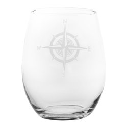 Rolf Glass - Compass Rose White Wine Tumbler 15oz, Set of 4, Clear, 15 Oz. - No matter what direction you are headed, you need a steady compass to guide you home. The Compass Rose collection helps you stay the course through calm seas or squalls. This classic nod to navigation is the perfect edition to any elegant evening. Whether you fancy yourself Captain Stubing or Captain Jack, your designer intuition will always point True North.  Made in USA.  Set of 4