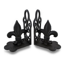 Zeckos - Fleur De Lis Cast Iron Distressed Finish Bookend Set of 2 - A stylized lily becomes the centerpiece of these decorative deep brown, rustic finish set of bookends. Made from cast iron, a Fleur de Lis proudly sits on a decorative scroll base to regally hold up your favorite written works, or act as accents on either end of a mantel. They'd make a unique addition to any sculpture collection, and look great on shelves, tables and bookcases whether in the home or at the office This pair of 7 inch high, 5.25 inch long, 3.5 inch wide (18 x 13 x 9 cm) bookends makes an amazing gift for friends and family sure to be admired