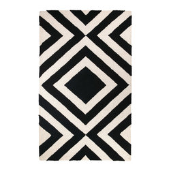 Trina Turk - Trina Turk Merced Hook Black Rug - The Merced rug's concentric diamond pattern lends an energetic vibe. Pulsing with energy, this bold geometric accent by Trina Turk is hand hooked in rich black. 3' x 5'; 100% wool; Cotton canvas backing; Rug pad recommended; Professional cleaning recommended