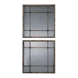 Uttermost Saragano Square Mirrors Set/2 - Heavily distressed slate blue with aged ivory accents and antiqued mirrors. Heavily distressed, slate blue frame with aged ivory accents and antiqued mirrors.