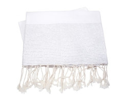 White and Silver Luxex Fouta Turkish Towel - This beautiful turkish towel is made of 100% natural cotton. Hand woven by artisans. The more you wash it, the softer and more absorbent it becomes. Due to the generously sized nature of this fouta, it can be used as a towel, beach cover up, shawl or throw.