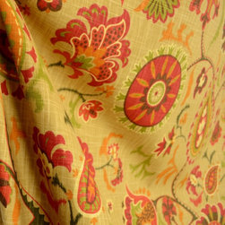 Waverly - Waverly Fabric Siren Song Cayenne Floral Paisley Suzani Fabric By The Yard - Waverly fabric Siren Song in the color Cayenne is a great looking suzani paisley floral fabric. Cotton based makes this fabric great for draperies, bedding, pillows and light upholstery.